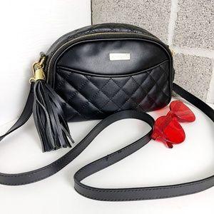 Joy & Iman Black Leather Quilted Bag
